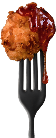 chicken on a fork
