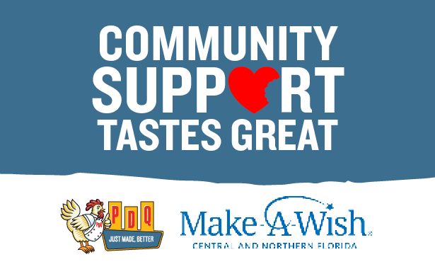 PDQ Make a Wish Central and North Florida fundraising night on March 4 at all Jacksonville and Orlando area locations