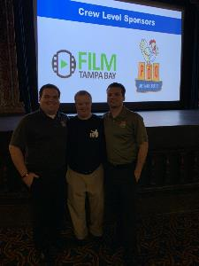 Sam Piazza with PDQ team at screening of Because of Sam movie at Tampa Theatre