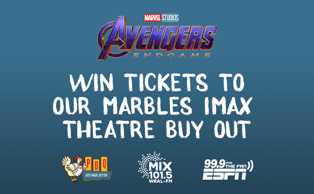 Win Free Avengers Tickets at Raleigh area PDQ locations. We have joined forces with our friends at Mix 101.5 and 99.9 The Fan to give away tickets for the premier of Avengers: Endgame! on Friday, May 3 at the Marbles IMAX theater.