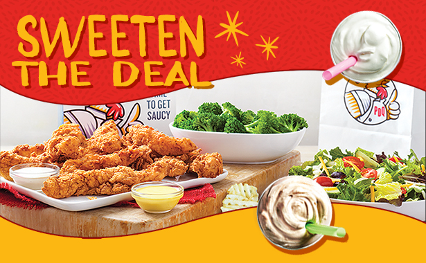 Sweeten the Deal. For the entire month of June from 4 pm until close, receive two free small shakes when you purchase a 20-piece Family Meal Deal