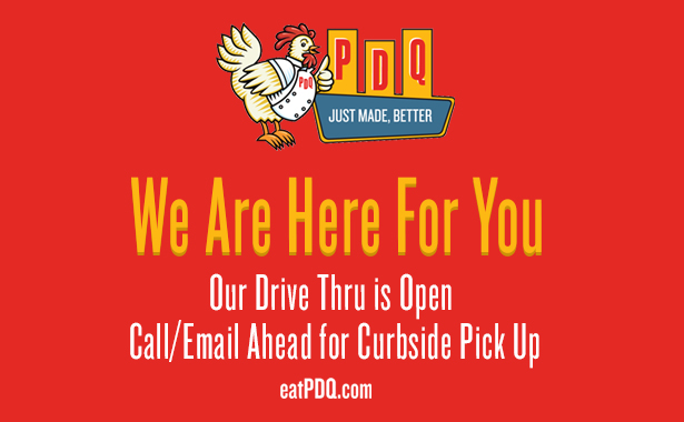 PDQ Farmingdale. We are here for you. Our Drive-Thru is Open. Call or email ahead for curbside pickup. eatPDQ.com