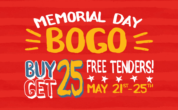 Buy One, Get One Free for 25-piece platters from May 21-25, 2020 at all locations. Not valid for online ordering, delivery or with any other offers.