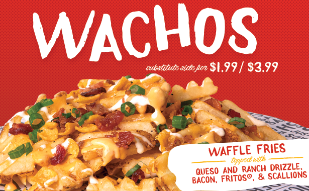 Wachos. Waffle Fries topped with Queso and Ranch Drizzle, Bacon, Fritos and Scallions. Substitute side for 1.99 and 3.99 solo.