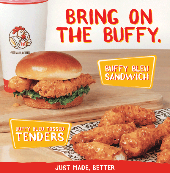Bring on the Buffy. Buffy Bleu Sandwich. Buffy Bleu Tossed Tenders