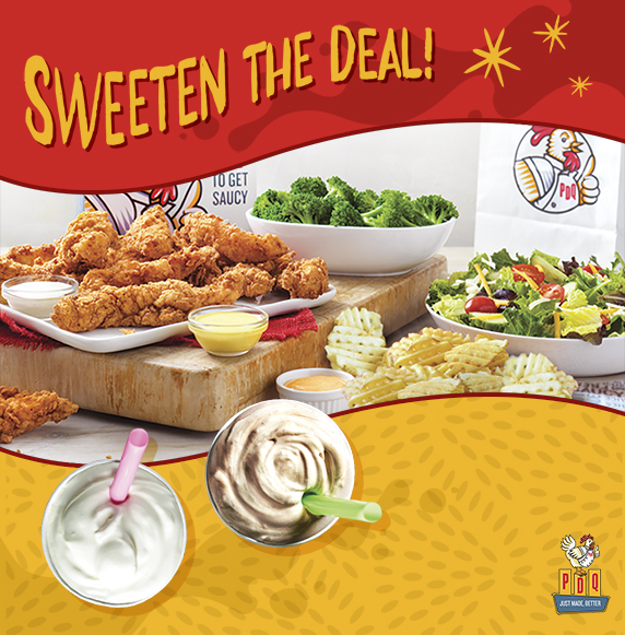 Sweeten the Deal with each 20-piece Family Meal Deal purchase from 4 pm until close, get two free small shakes