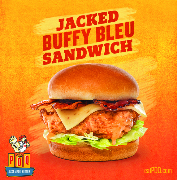 A PDQ Classic... Now Saucier!   Grab the Jacked Buffy - a crispy chicken breast tossed in our signature buffalo bleu sauce with hardwood smoked bacon, lettuce and pepper jack cheese.   Available for a limited time only at your local PDQ.