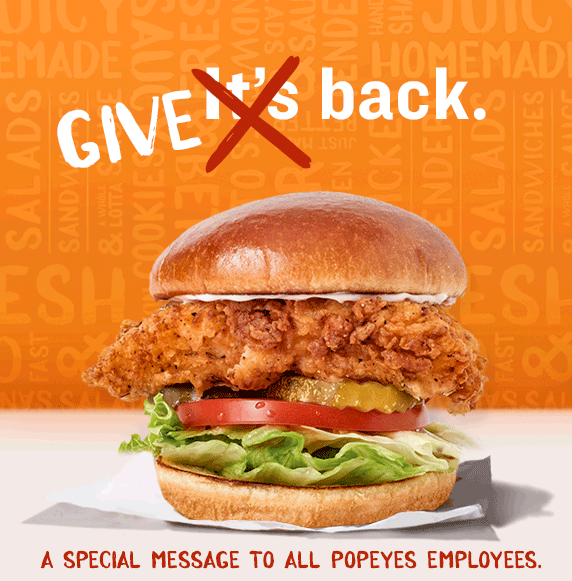 Give Back to Popeyes Employees. Free Chicken sandwich on November 6-7 for Popeyes employees with name tag or in uniform.