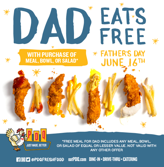 Dad Eats Free with purchase of meal bowl or salad on Father